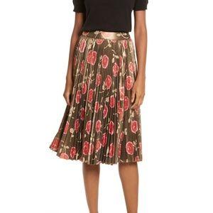 nwt | Kate Spade Hazy Rose Pleated Metallic Skirt